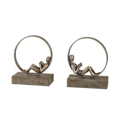 8 in. x 9.75 in. Lounging Reader Bookends (Set of 2)