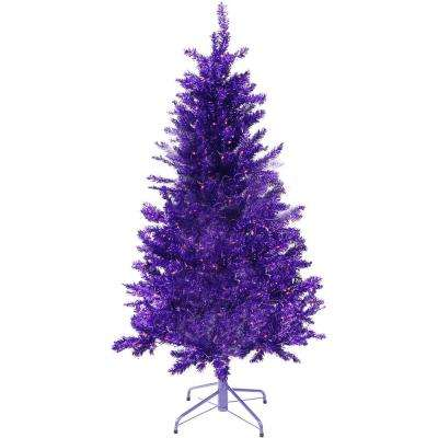 5 ft. Festive Purple Tinsel Christmas Tree with Clear Lighting