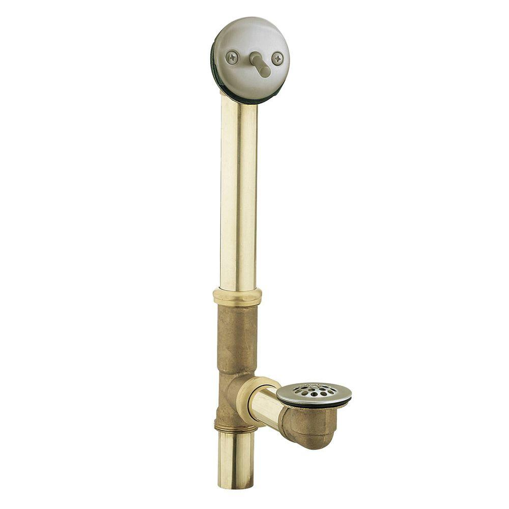 MOEN Brass Trip-Lever Drain Assembly in Brushed Nickel