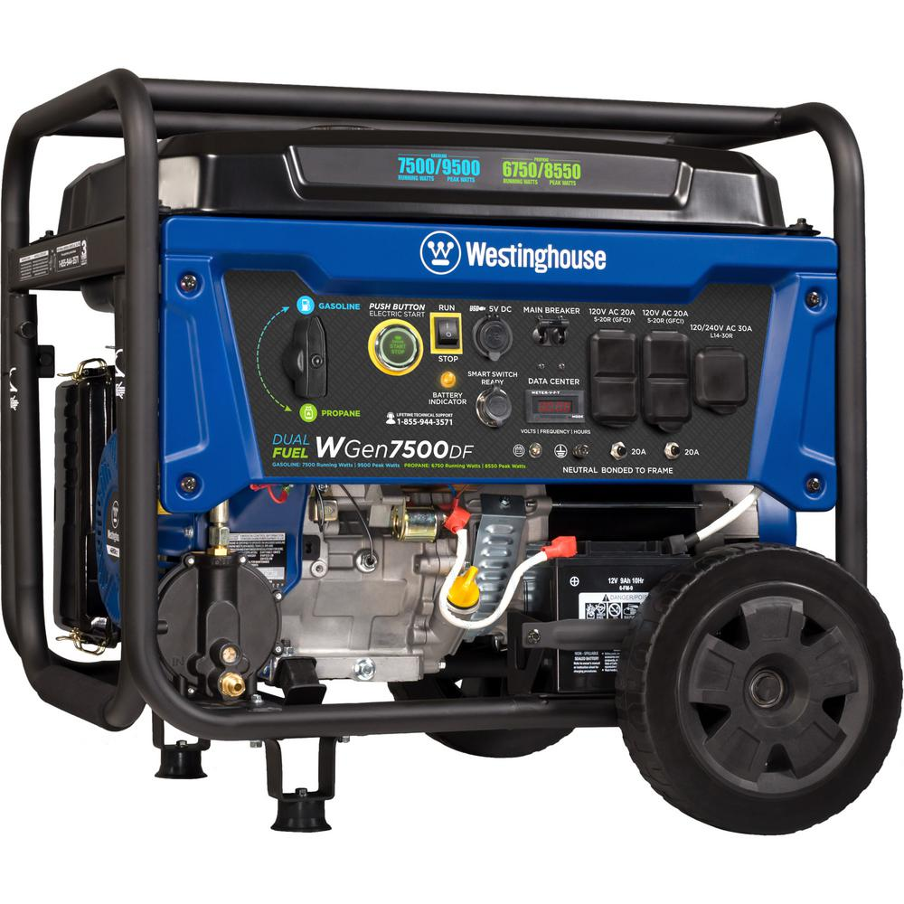 Westinghouse 9,500/7,500-Watt Dual Fuel Gasoline or Propane Powered  Portable Generator with Remote Start