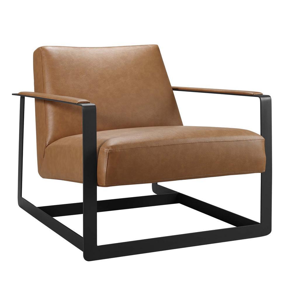 Seg Tan Upholstered Vinyl Accent Chair