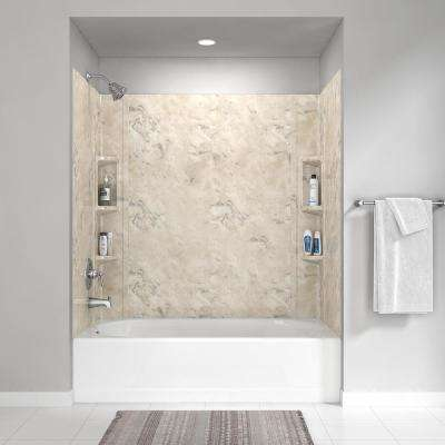 Colony 32 in. x 60 in. 5-Piece Glue-Up Alcove Wall Bath Set in Celestial Marble