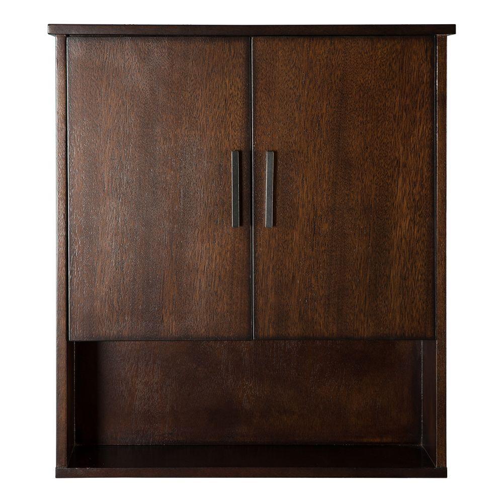 Castlethorpe 25 in. W x 28 in. H x 7-3/4 in. D Bathroom Storage Wall Cabinet in Dark Walnut