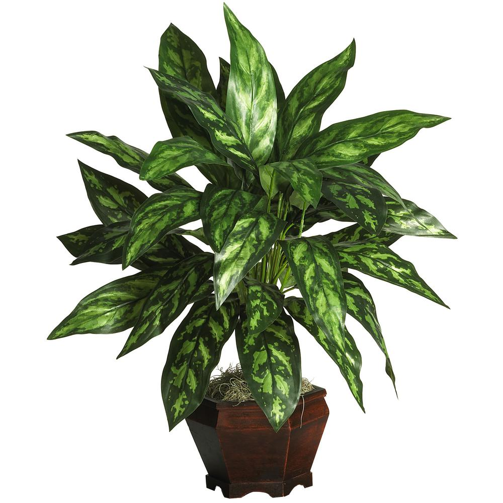 29 in. Silver King with Wood Vase Silk Plant