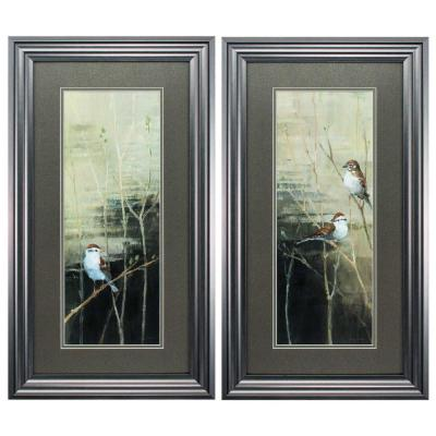 Victoria Glass Gunmetal Gray Wall Architectural Decor (Set Of 2)