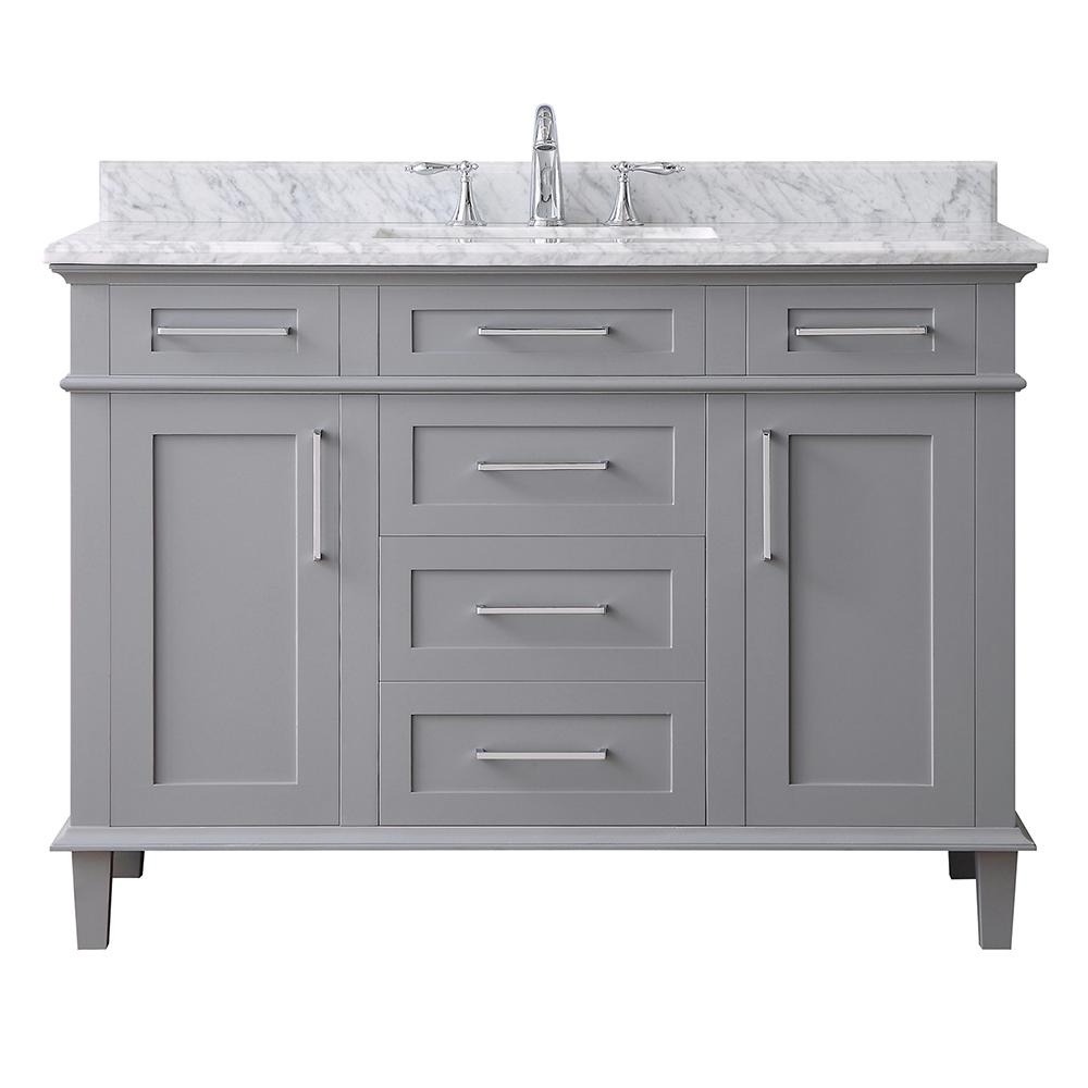 Home Decorators Collection Sonoma 48 in. W x 22 in. D Vanity in Pebble Grey with Marble Vanity Top in Carrara with White Basin