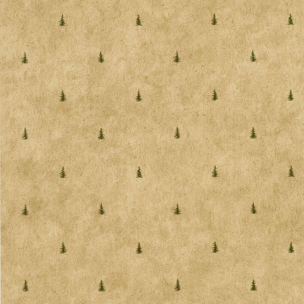 The Wallpaper Company 56 sq. ft. Brown Pine Tree Mini Print Wallpaper