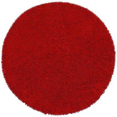 Red Shag Chenille Twist 3 ft. x 3 ft. Round Accent Rug
