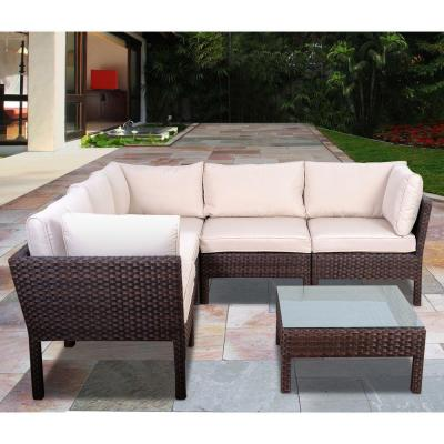 Infinity Dark Brown 6-Piece All-Weather Wicker Patio Seating Set with White Cushions