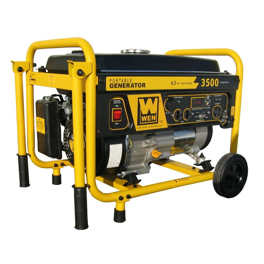 WEN 3,500-Watt Gasoline Powered Portable Generator with Wheel Kit