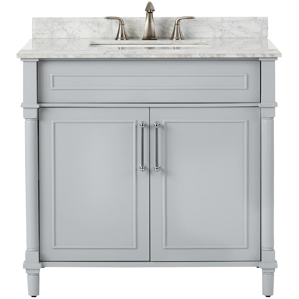 home decorators collection aberdeen 36 in w x 22 in d single bath rh homedepot com white bathroom vanity with marble top bathroom vanity with carrera marble top