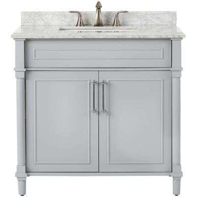 Aberdeen 36 in. W x 22 in. D Single Bath Vanity in Dove Grey with Natural Marble Vanity Top in White