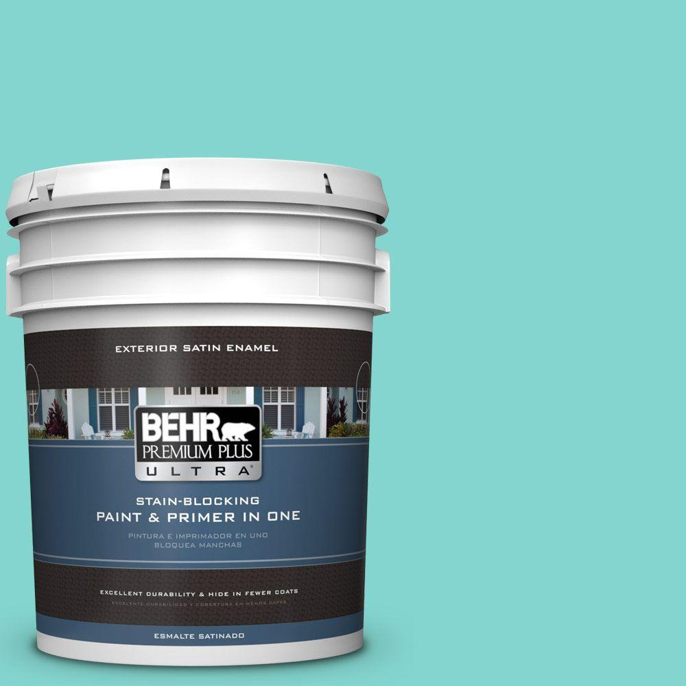BEHR Premium Plus Ultra 5-gal. #HDC-MD-09 Island Oasis Satin Enamel Exterior Paint
