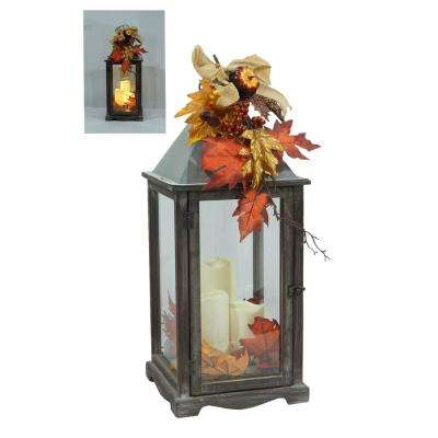25.5 in. Weathered Wood and Metal LED Lantern