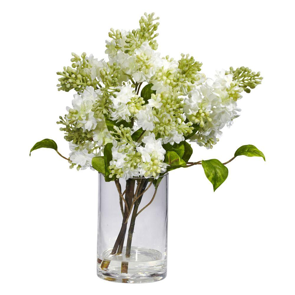 H White Lilac Silk Flower Arrangement