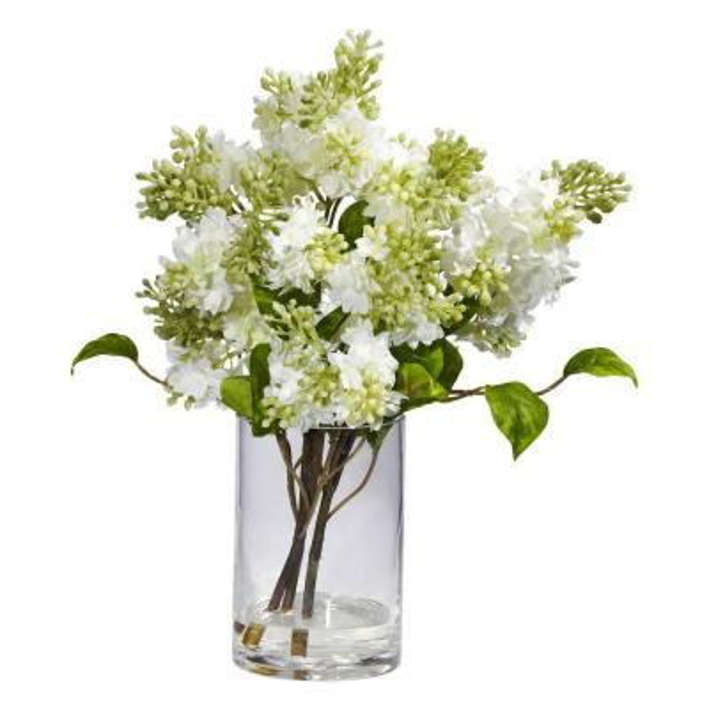 15 in. H White Lilac Silk Flower Arrangement