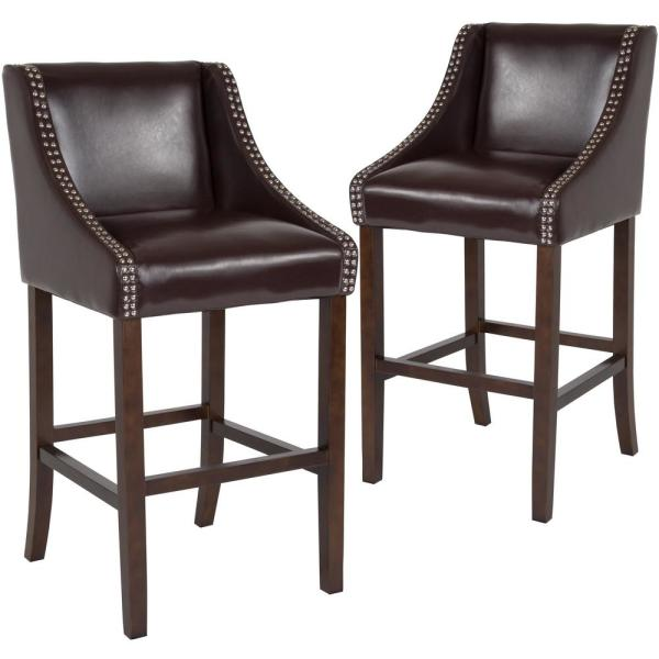 30 In Brown Leather Bar Stool Set Of 2
