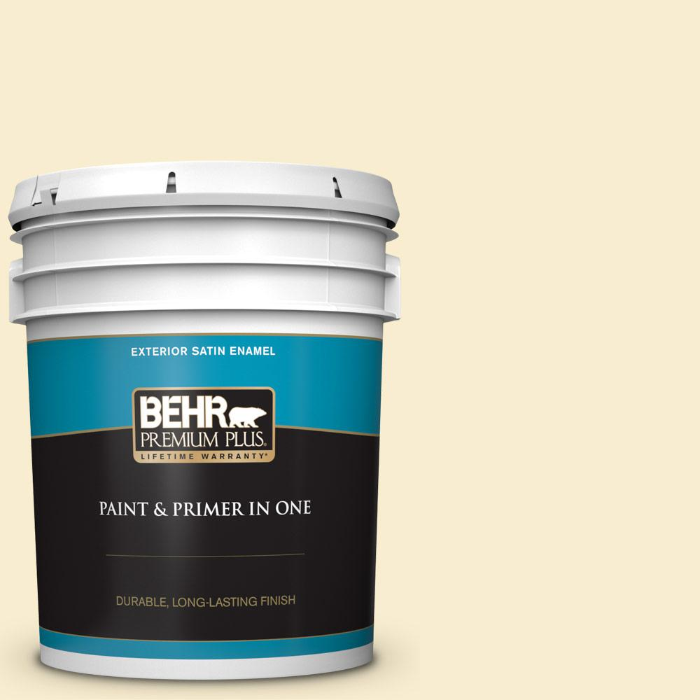 Behr Premium Plus 5 Gal 300a 1 Opal Cream Satin Enamel Exterior Paint And Primer In One 905005 The Home Depot