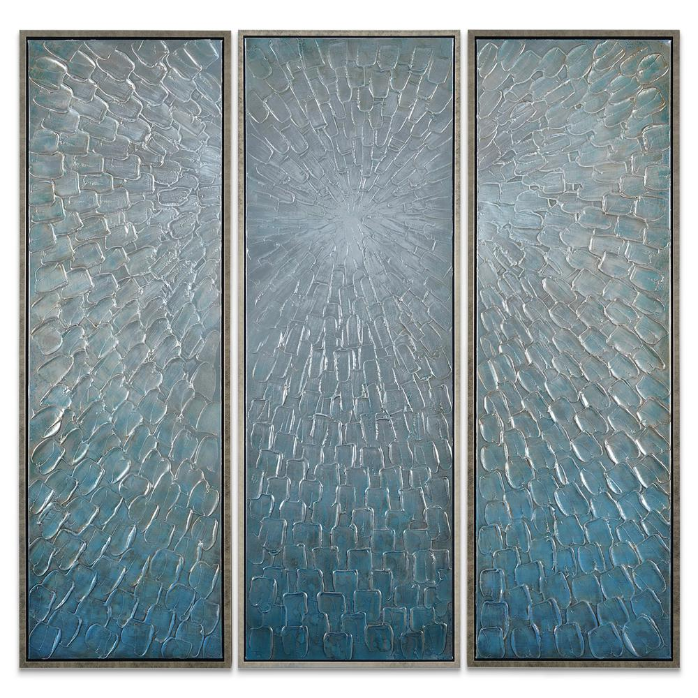 Silver ice textured metallic hand painted by martin edwards wall art set of 3