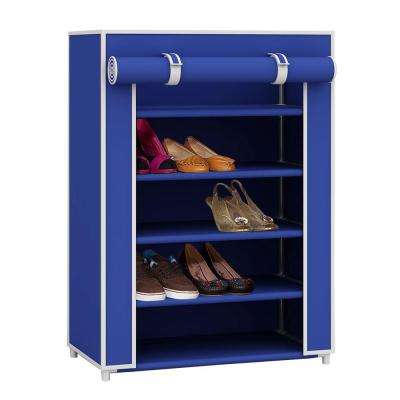31.5 in. High 5-Tier 11-Pair Navy color Shoe Organizer