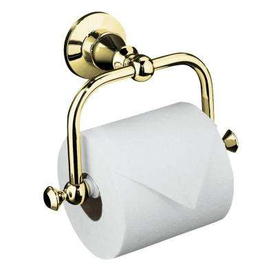 Antique Wall-Mount Single Post Toilet Paper Holder in Vibrant Polished Brass