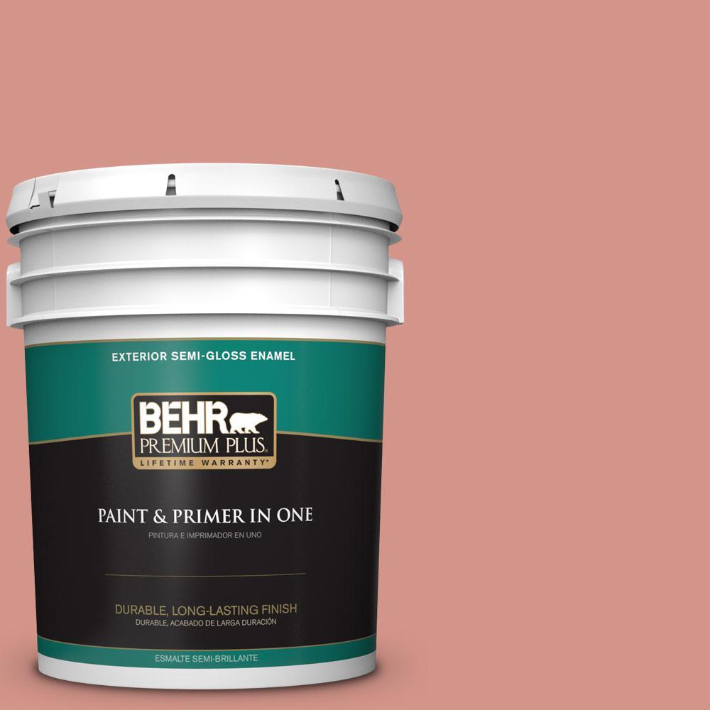 BEHR Premium Plus 5-gal. #T15-20 Peach Preserve Semi-Gloss Enamel Exterior Paint