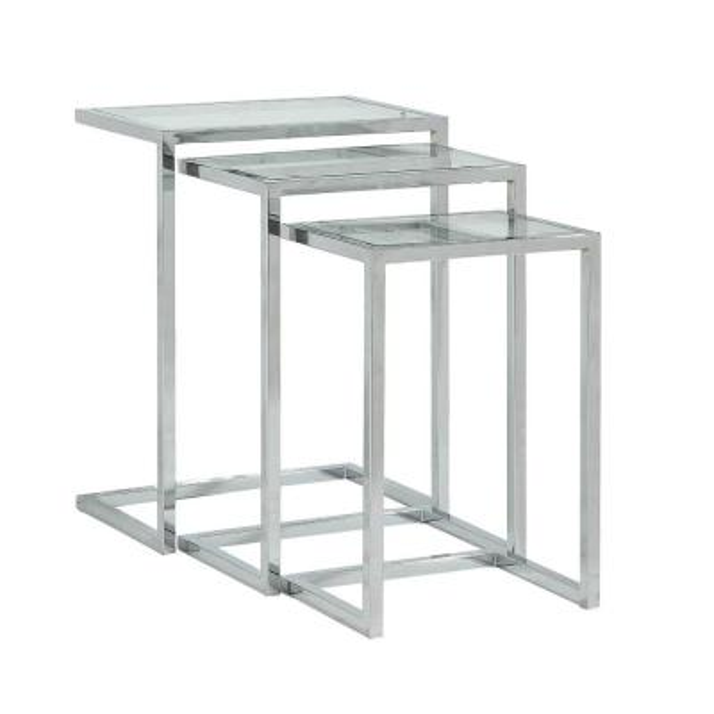 Addison Chrome Glass Top Nesting Table (Set of 3)