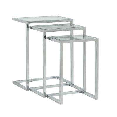 Addison Chrome Glass Top Nesting Table (Set of 3)
