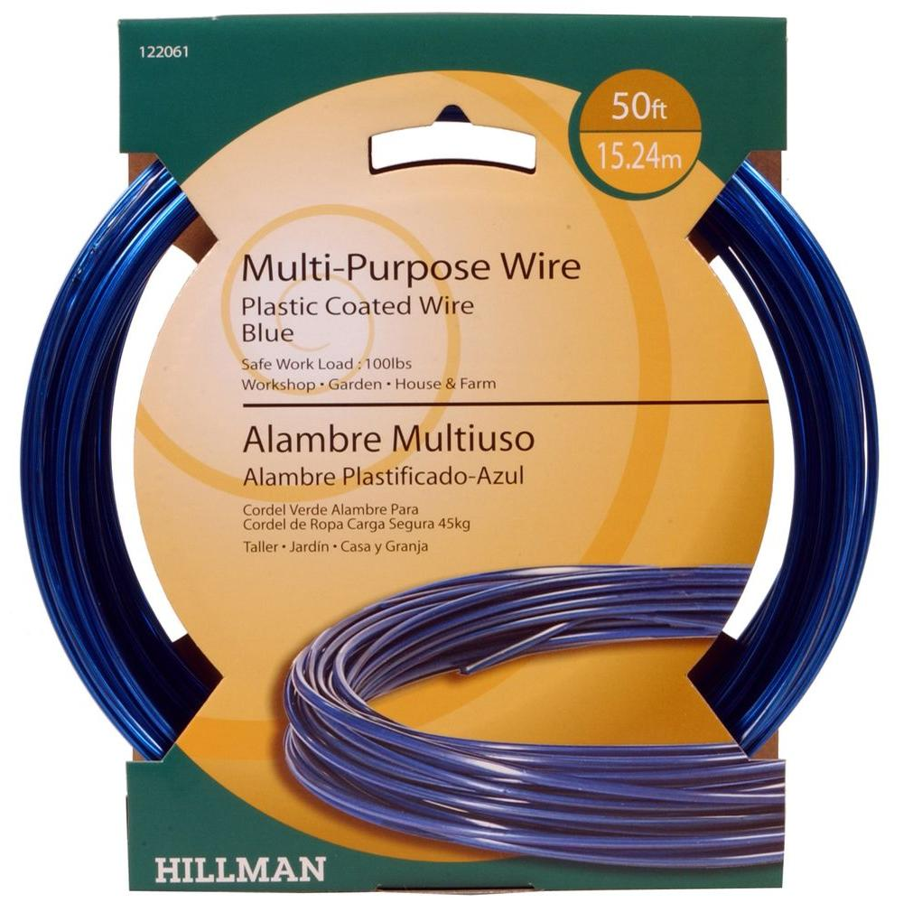 50 ft. Plastic-Coated Blue Wire