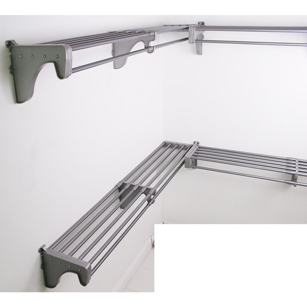 Steel Closet Organizer Kit With 3 Expandable Shelf And Rod