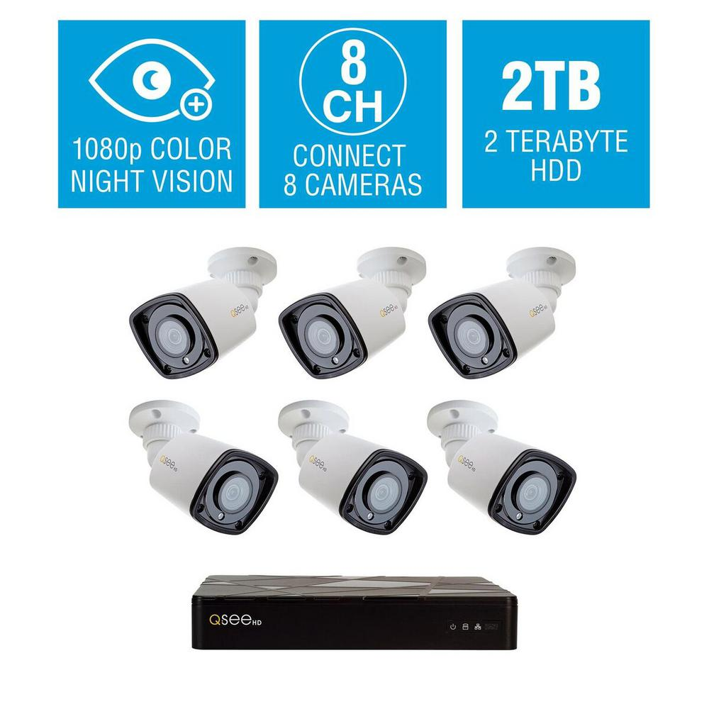 8-Channel 1080p 2TB HD H.265 NVR Video Surveillance System with 6