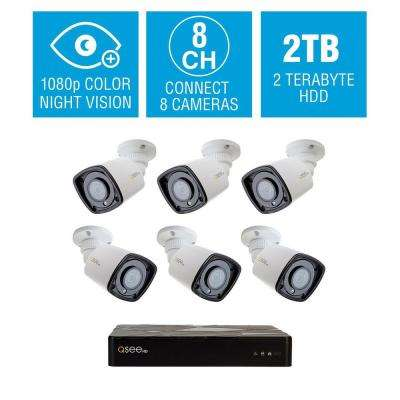 8-Channel 1080p 2TB HD H.265 NVR Video Surveillance System with 6 Bullet Cameras and 65 ft. Color Night Vision