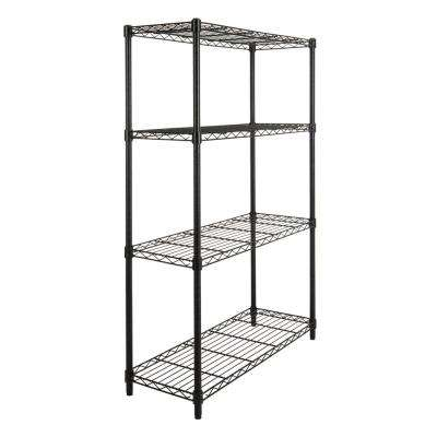 Ryan 53 in. 4-Shelf Wire Rack, Black