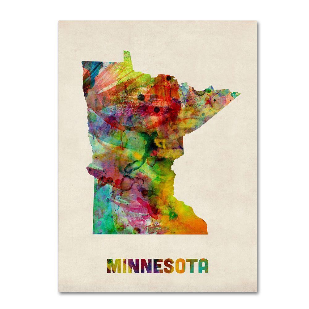 14 in  x 19 in  Minnesota Map Canvas Art