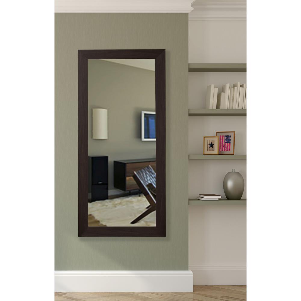 65.5 in. x 30.5 in. Black Walnut Non Beveled Vanity Wall Mirror
