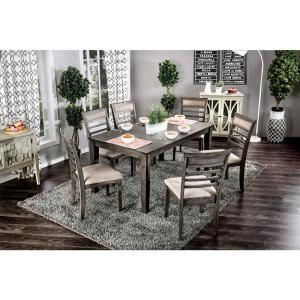 Talyah 7pc Transitional Style Dining Table Set In Weathered Gray And Beige Finish