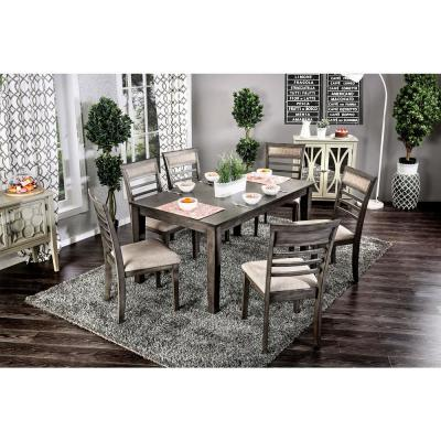 Talyah 7 Piece Transitional Style Dining Table Set in Weathered Gray and Beige Finish