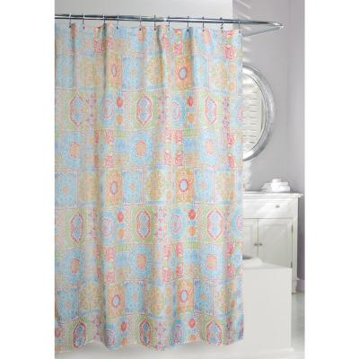 Vallhara 71 in. Multi Color Fabric Shower Curtain