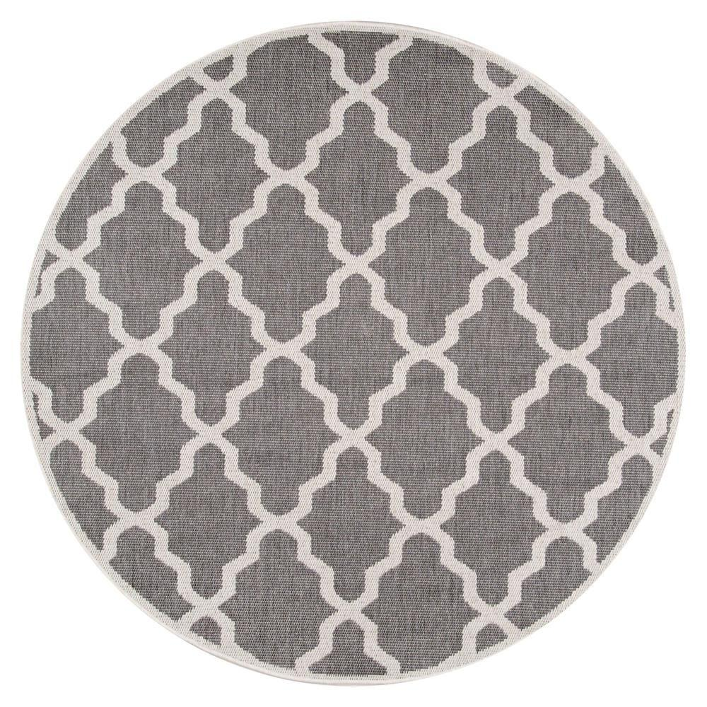 Nuloom Gina Outdoor Moroccan Trellis Polypropylene Patio: NuLOOM Gina Moroccan Trellis Grey 6 Ft. 3 In. X 6 Ft. 3 In