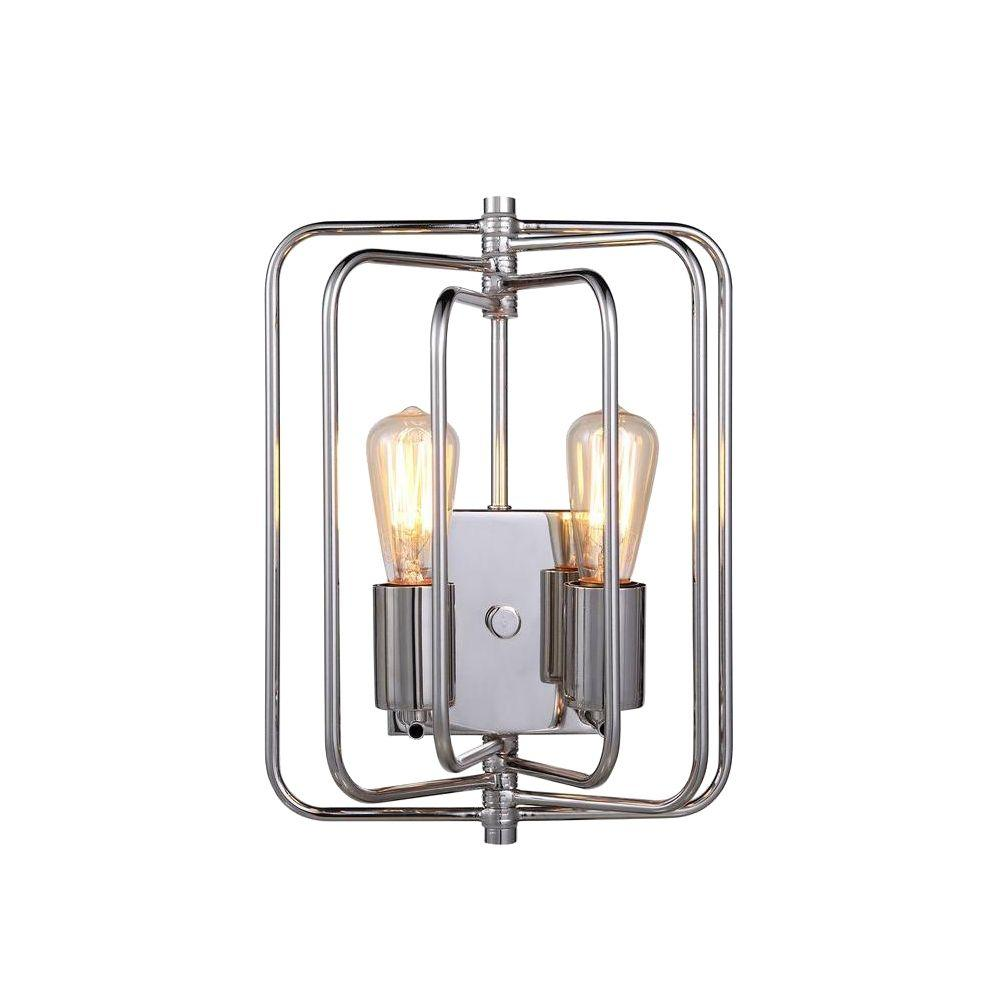 Lewis 2-Light Polished Nickel Wall Sconce