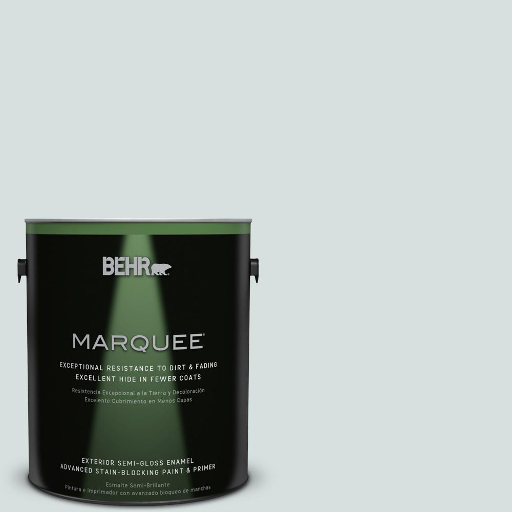 Behr Marquee 1 Gal 490e 2 Delicate Mist Semi Gloss Enamel Exterior Paint 545001 The Home Depot