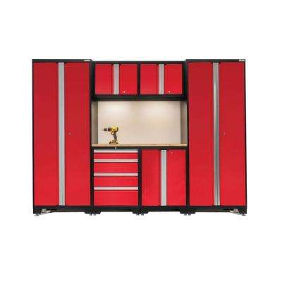 Bold 3 Series 77 in. H x 108 in. W x 18 in. D 24-Gauge Welded Steel Bamboo Worktop Cabinet Set in Red (7-Piece)