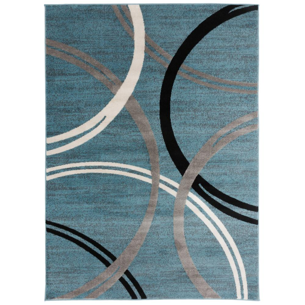 World Rug Gallery Modern Abstract Circles Blue 7 Ft 10 In