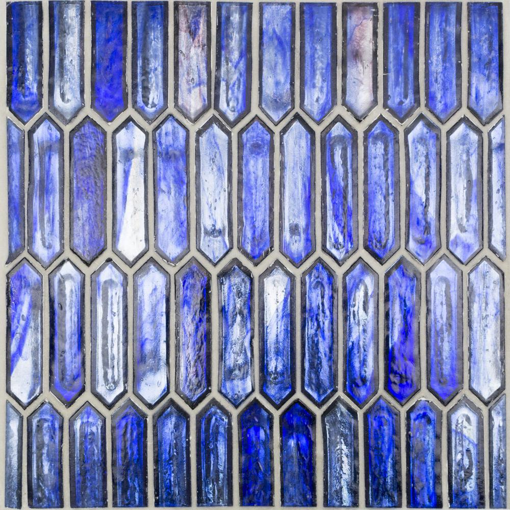 Ivy Hill Tile Fargin Cobalt Ice Elongated Hexagon 12 in. x 10 in. x 7mm Polished Glass Mosaic Tile (0.82 sq. ft.)