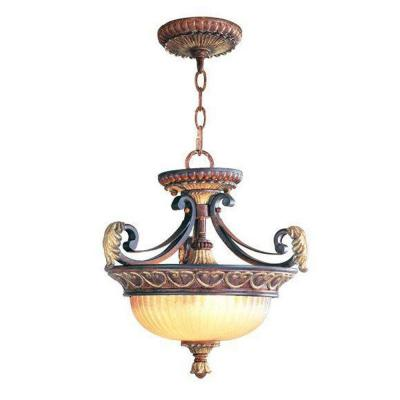 2-Light Verona Bronze Chandelier with Aged Gold Leaf Accents and Rustic Art Glass Shade