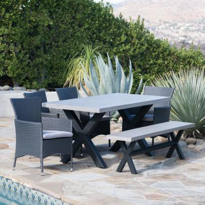 Fairmount Grey 6-Piece Wicker Outdoor Dining Set with Silver Cushions
