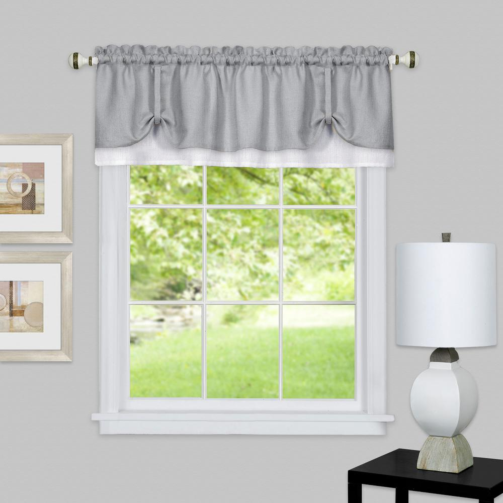 L polyester valance in grey white