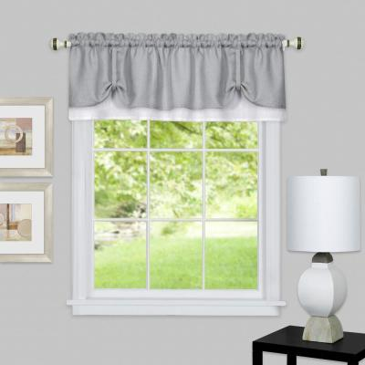 Darcy 14 in. L Polyester Window Curtain Valance in Grey/White