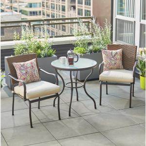 3 piece patio set hampton bay pin oak 3 wicker outdoor bistro set with 10318
