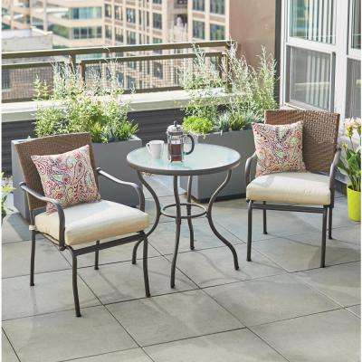 Pin Oak 3 Piece Wicker Outdoor Bistro Set with Oatmeal Cushions. Bistro Sets   Patio Dining Furniture   The Home Depot